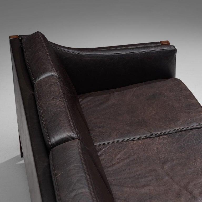 Mid-20th Century Erik Jørgensen Sofa in Dark Brown Leather and Rosewood For Sale