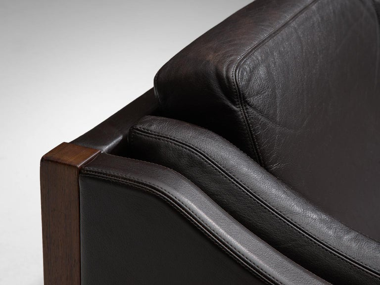 Erik Jørgensen Sofa in Dark Brown Leather and Rosewood For Sale 1