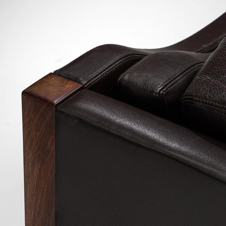 Erik Jørgensen Sofa in Dark Brown Leather and Rosewood For Sale 2