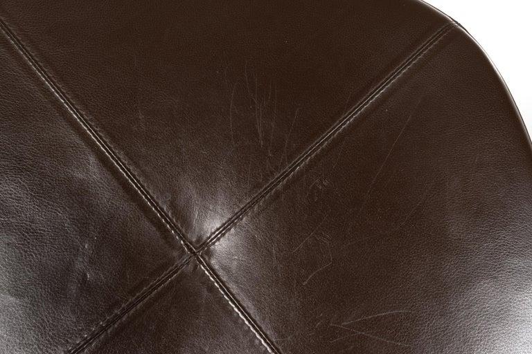 Erik Jørgensen Stools 'Model EJ 141' in Brown Leather and Chrome Frames, Denmark For Sale 4