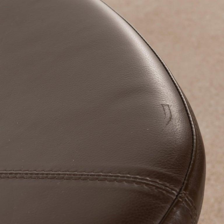 Erik Jørgensen Stools 'Model EJ 141' in Brown Leather and Chrome Frames, Denmark For Sale 5
