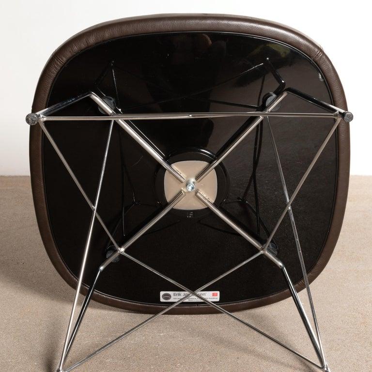 Erik Jørgensen Stools 'Model EJ 141' in Brown Leather and Chrome Frames, Denmark For Sale 6