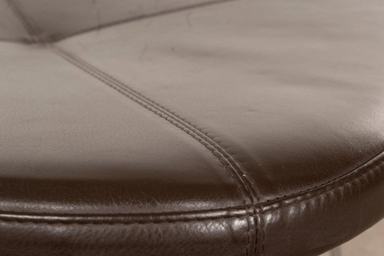 20th Century Erik Jørgensen Stools 'Model EJ 141' in Brown Leather and Chrome Frames, Denmark For Sale