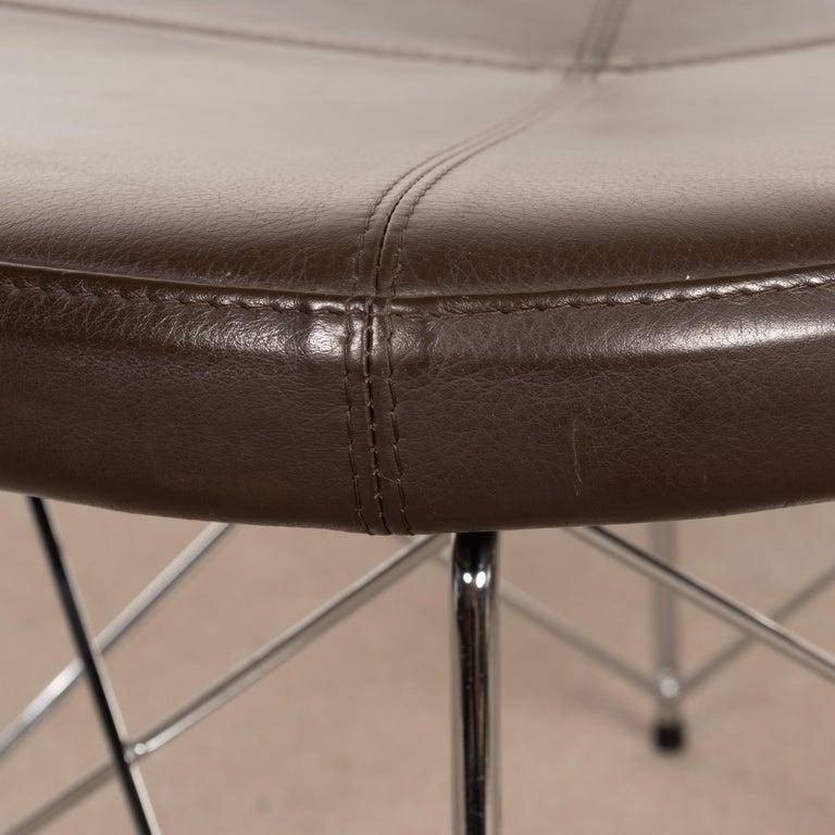 Erik Jørgensen Stools 'Model EJ 141' in Brown Leather and Chrome Frames, Denmark For Sale 1