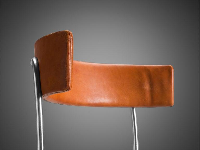 Mid-Century Modern Erik Karlström Side Chair in Cognac Leather and Tubular Steel For Sale