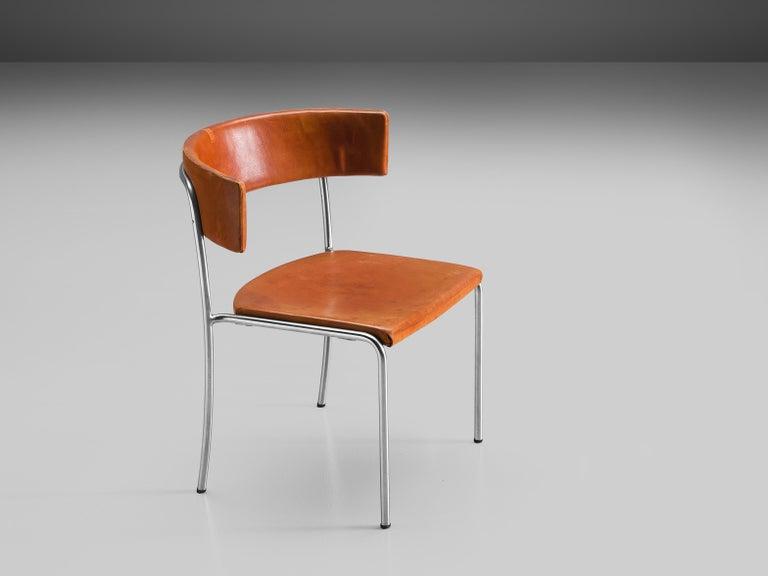 Swedish Erik Karlström Side Chair in Cognac Leather and Tubular Steel For Sale