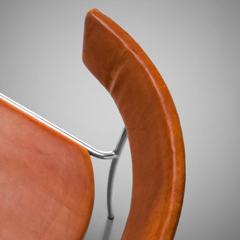 Erik Karlström Side Chair in Cognac Leather and Tubular Steel In Good Condition For Sale In Waalwijk, NL