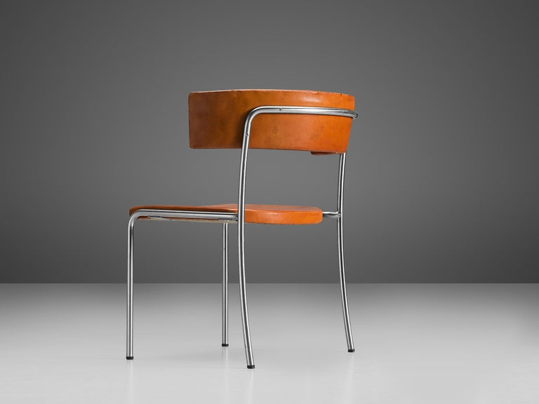 Mid-20th Century Erik Karlström Side Chair in Cognac Leather and Tubular Steel For Sale