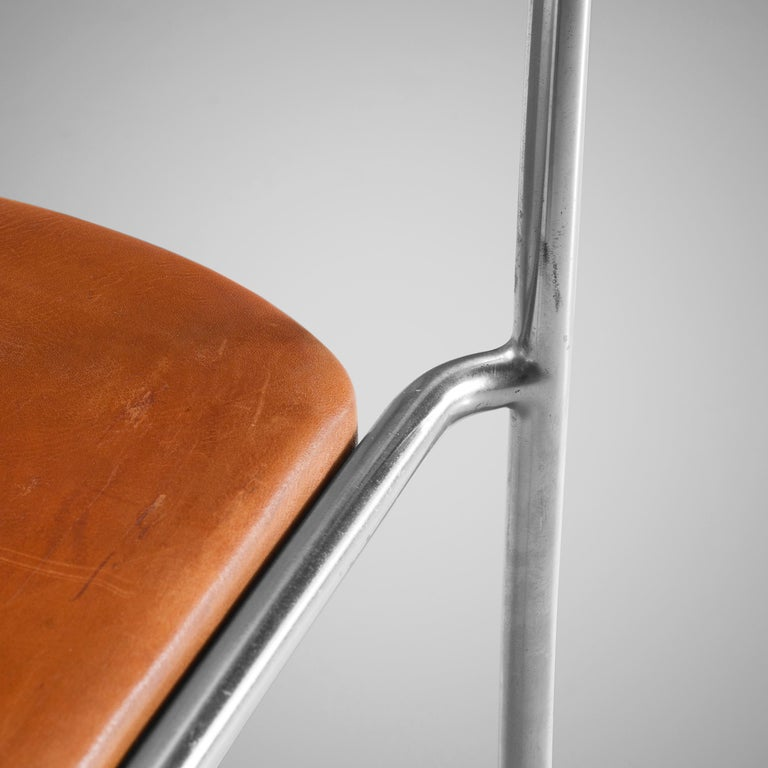 Erik Karlström Side Chair in Cognac Leather and Tubular Steel For Sale 1