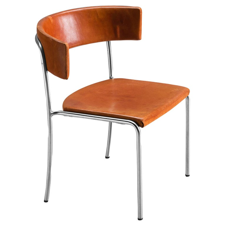 Erik Karlström Side Chair in Cognac Leather and Tubular Steel For Sale
