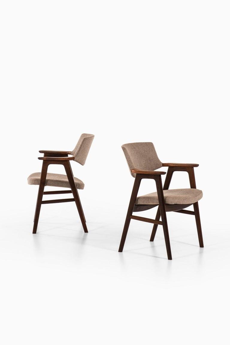 Fabric Erik Kirkegaard Armchairs / Dining Chairs by Høng Stolefabrik in Denmark For Sale