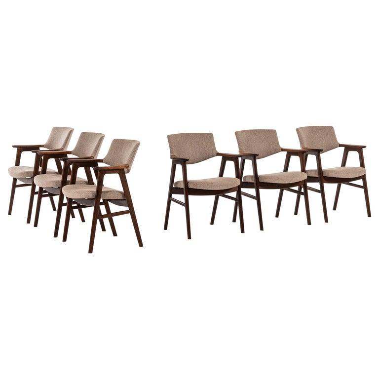 Erik Kirkegaard Armchairs / Dining Chairs by Høng Stolefabrik in Denmark For Sale