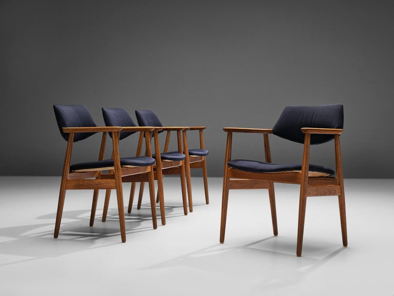 Erik Kirkegaard forHøng Stolefabrik, set of four armchairs model 53, teak, fabric upholstery, Denmark, 1956  Very comfortable dining chairs, due to well shaped armrests and ergonomic proportions of the back and seat by Erik Kirkegaard forHøng