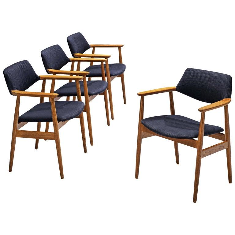 Erik Kirkegaard Set of Four Armchairs Model 53 in Teak For Sale