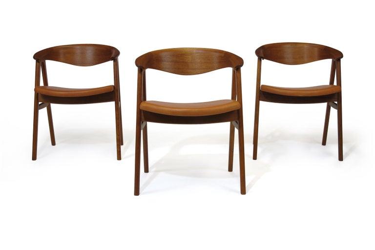 Erik Kirkegaard Danish Teak Dining Chairs in Saddle Leather 4