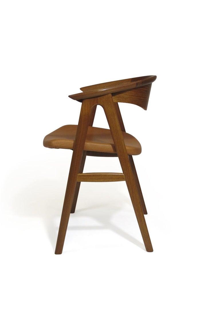 Scandinavian Modern Erik Kirkegaard Danish Teak Dining Chairs in Saddle Leather