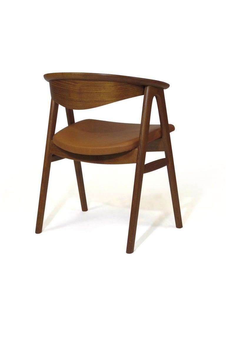 Oiled Erik Kirkegaard Danish Teak Dining Chairs in Saddle Leather