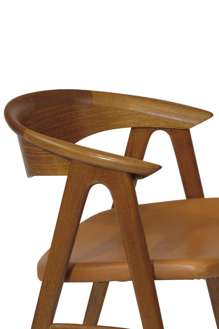20th Century Erik Kirkegaard Danish Teak Dining Chairs in Saddle Leather