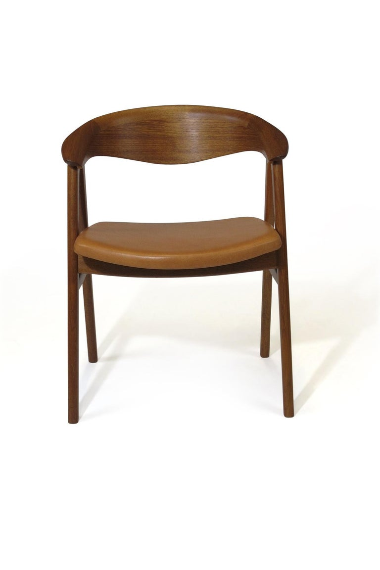 Erik Kirkegaard Danish Teak Dining Chairs in Saddle Leather 1