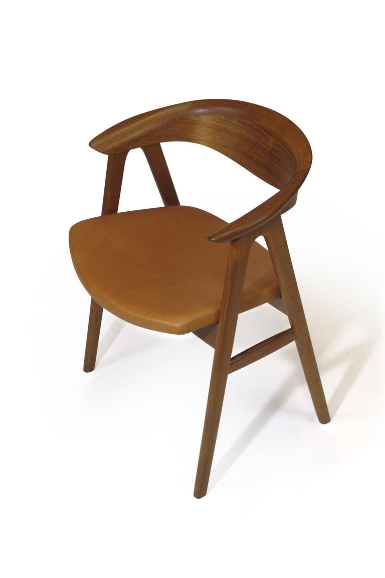 Erik Kirkegaard Danish Teak Dining Chairs in Saddle Leather 2
