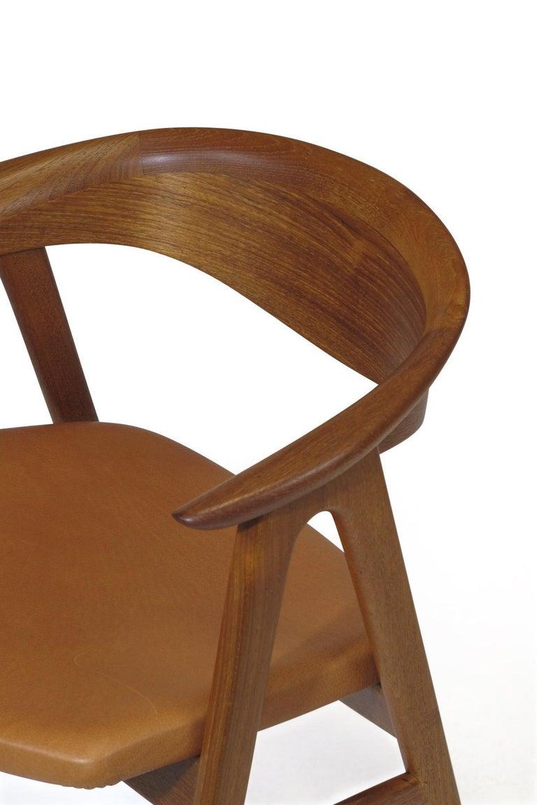 Erik Kirkegaard Danish Teak Dining Chairs in Saddle Leather 3