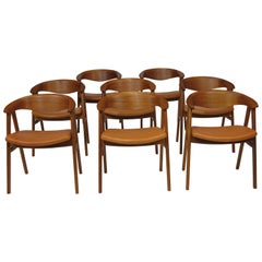 Erik Kirkegaard Danish Teak Dining Chairs in Saddle Leather