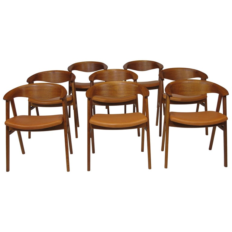 Erik Kirkegaard Danish Teak Dining Chairs in Saddle Leather