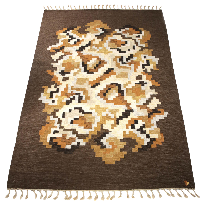 """Erik Lundberg Large """"Korall"""" Flat-Weave Rug, Sweden, 1960s - 302cm x 200cm"""
