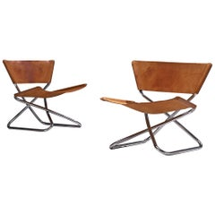 Erik Magnussen Pair of 'Z' Lounge Chairs in Cognac Leather
