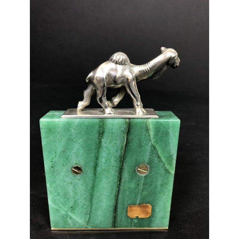 Bronze Erik Magnussen Sterling and Green Hardstone Desk Accessory For Sale