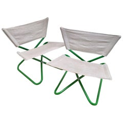 Erik Magnussen Z Folding Chairs in Green w new Belgian Linen, Bieffeplast 1965