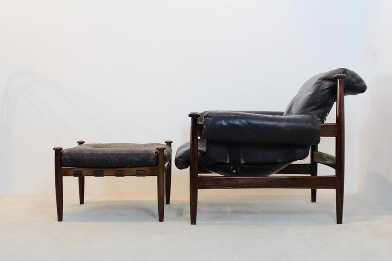 Scandinavian Modern Erik Merthen 'Amiral' Lounge Chair and Ottoman by Ire Möbler, Sweden, 1960s