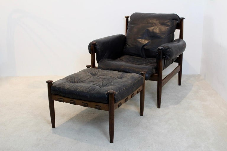 20th Century Erik Merthen 'Amiral' Lounge Chair and Ottoman by Ire Möbler, Sweden, 1960s