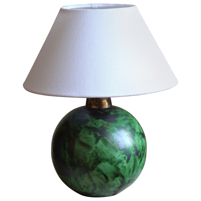 Erik Mornils, Table Lamp, Green Glazed Stoneware, Fabric Nittsjö, Sweden, 1940s