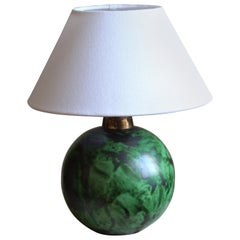 Erik Mornils, Table Lamp, Green Glazed Stoneware, Fabric Nittsjö, Sweden, 1940s
