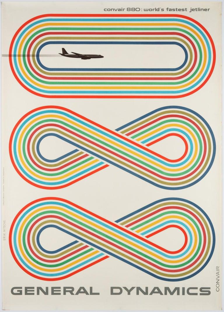Erik Nitsche Figurative Print - General Dynamics, Convair 880, World's Fastest Jetliner – Original Poster