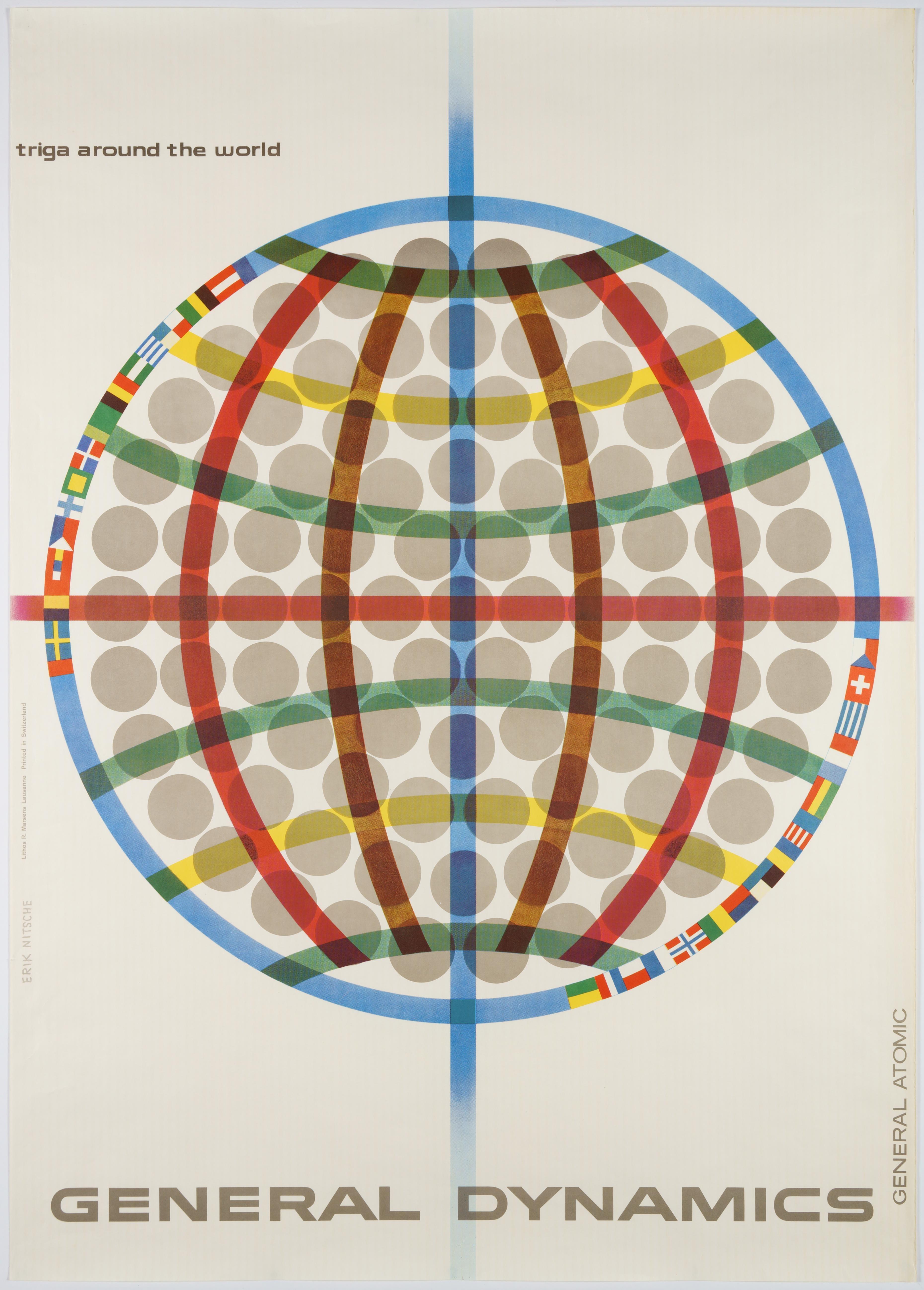 General Dynamics, Atom Reactor Triga around the World – Original Vintage Poster