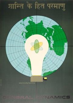 Original Vintage General Dynamics Poster Electrodynamics Atoms For Peace Nitsche