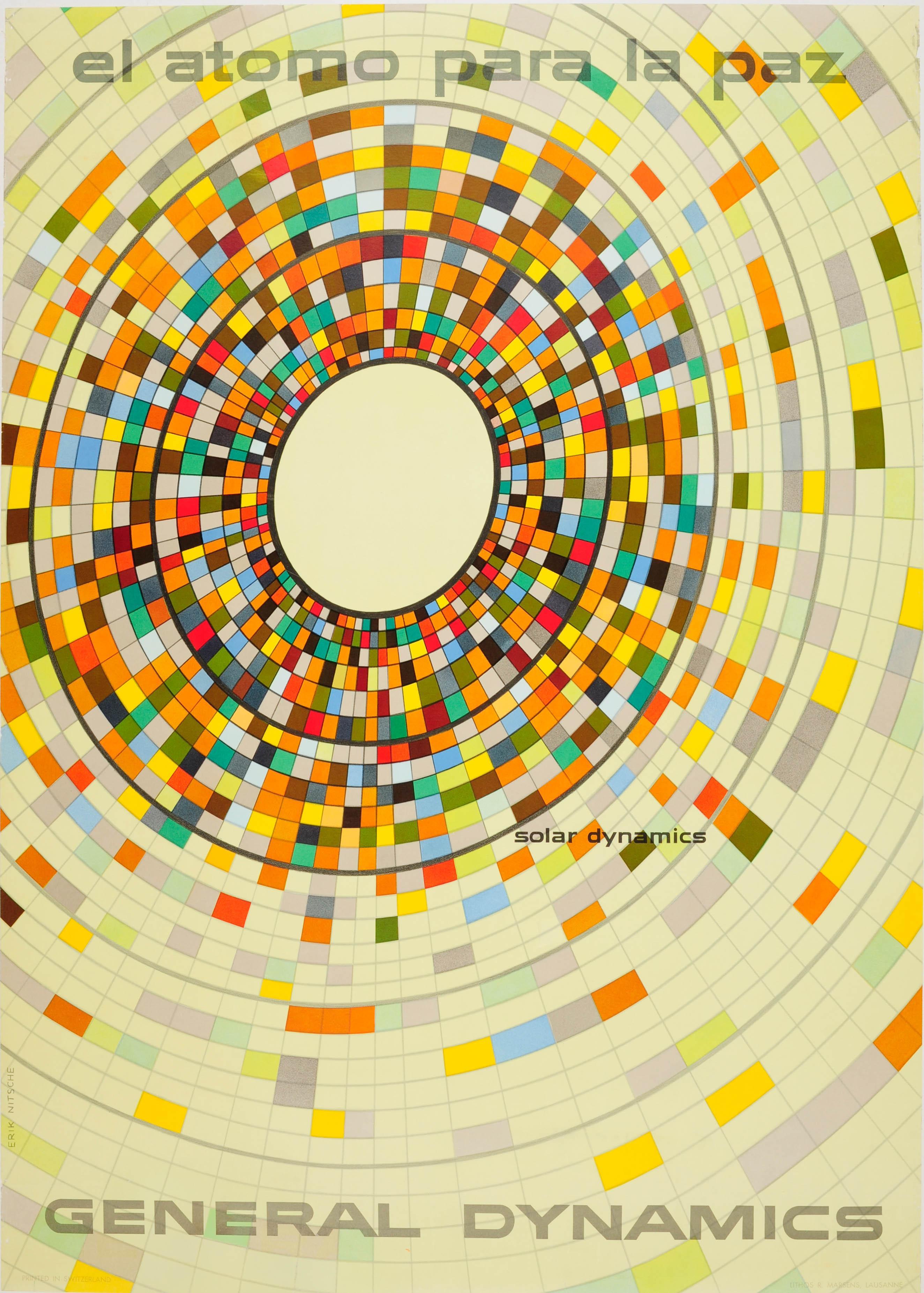 Original Vintage General Dynamics Poster Solar Dynamics Atoms For Peace Nitsche
