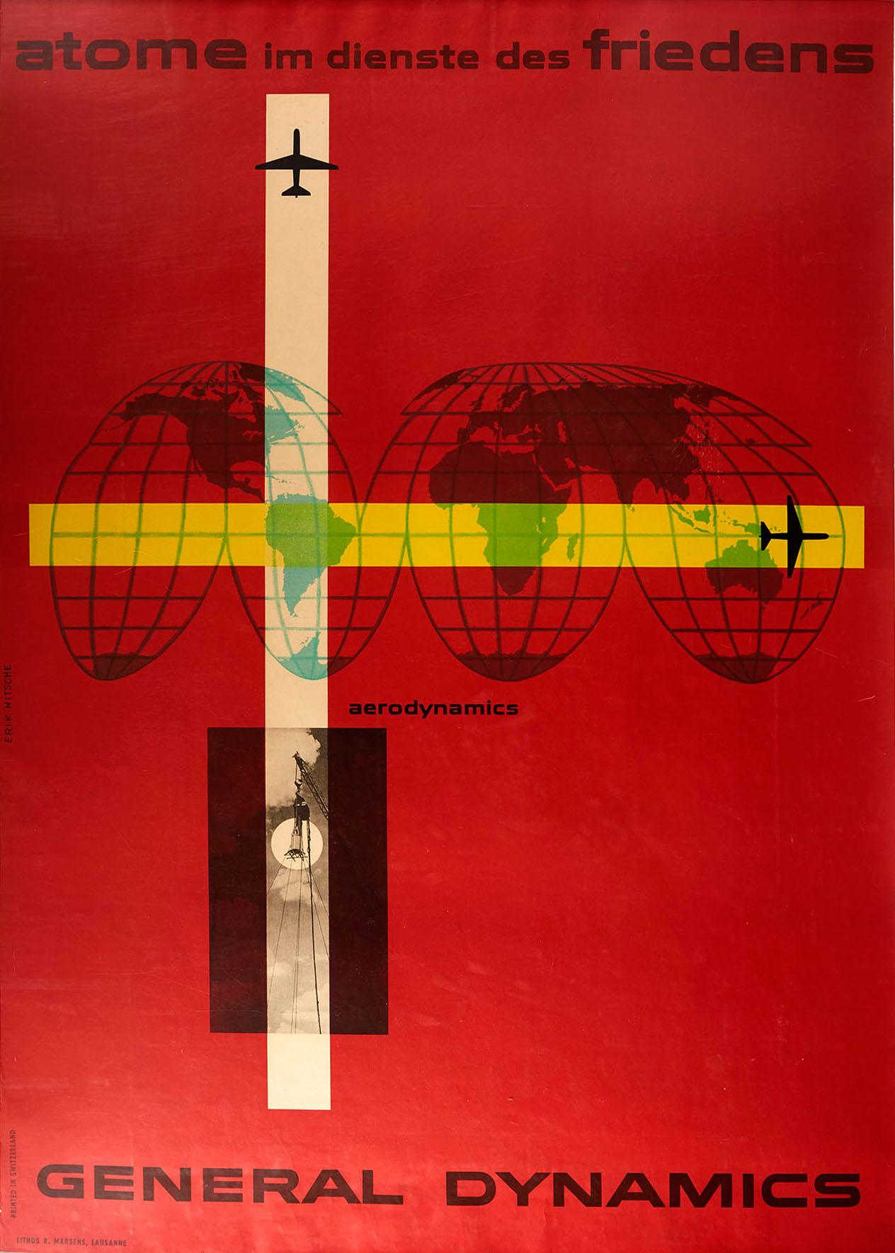 Original Vintage Poster General Dynamics Aerodynamics UN Atomic Energy World Map
