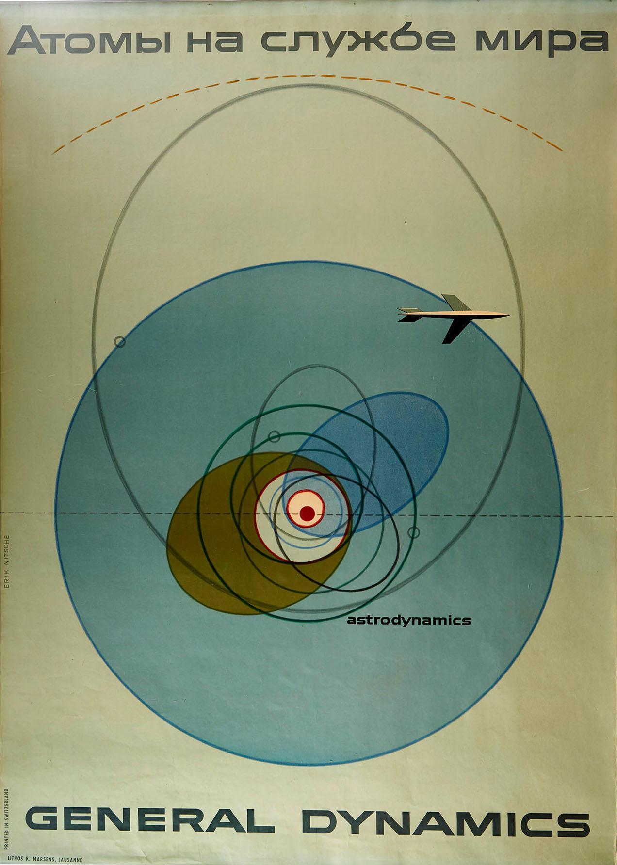 Original Vintage Poster General Dynamics Astrodynamics UN Atomic Energy Plane