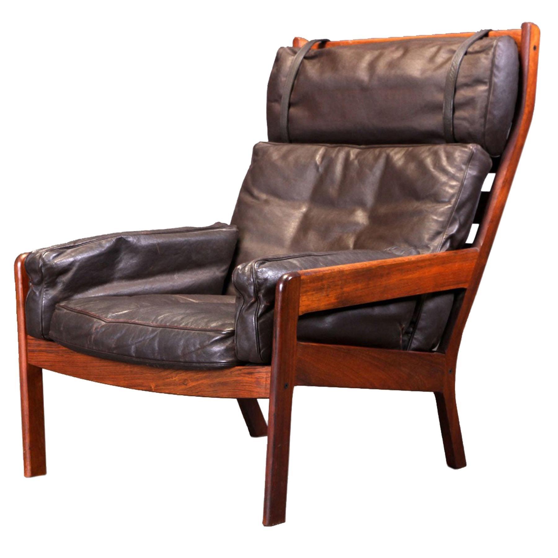 Erik Ole Jørgensen Gj 13 Highback Lounge Chair in Rosewood