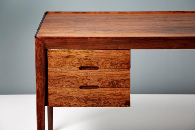 Scandinavian Modern Erik Riisager Hansen Rosewood Writing Desk, circa 1950s For Sale