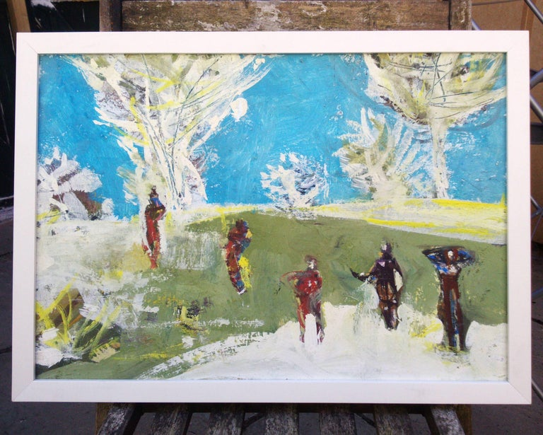 Figures in a landscape - Expressionist Mixed Media Art by Erik Scholz