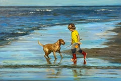 Beachbuddies - 21st Century Contemporary Painting 'a boy and his dog on a beach'