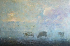 Early Birds- 21st Century Contemporary Impressionistic Dutch Painting with Cows