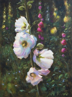 Hollyhocks- 21st Century Contemporary Painting of a Landscape with Flowers