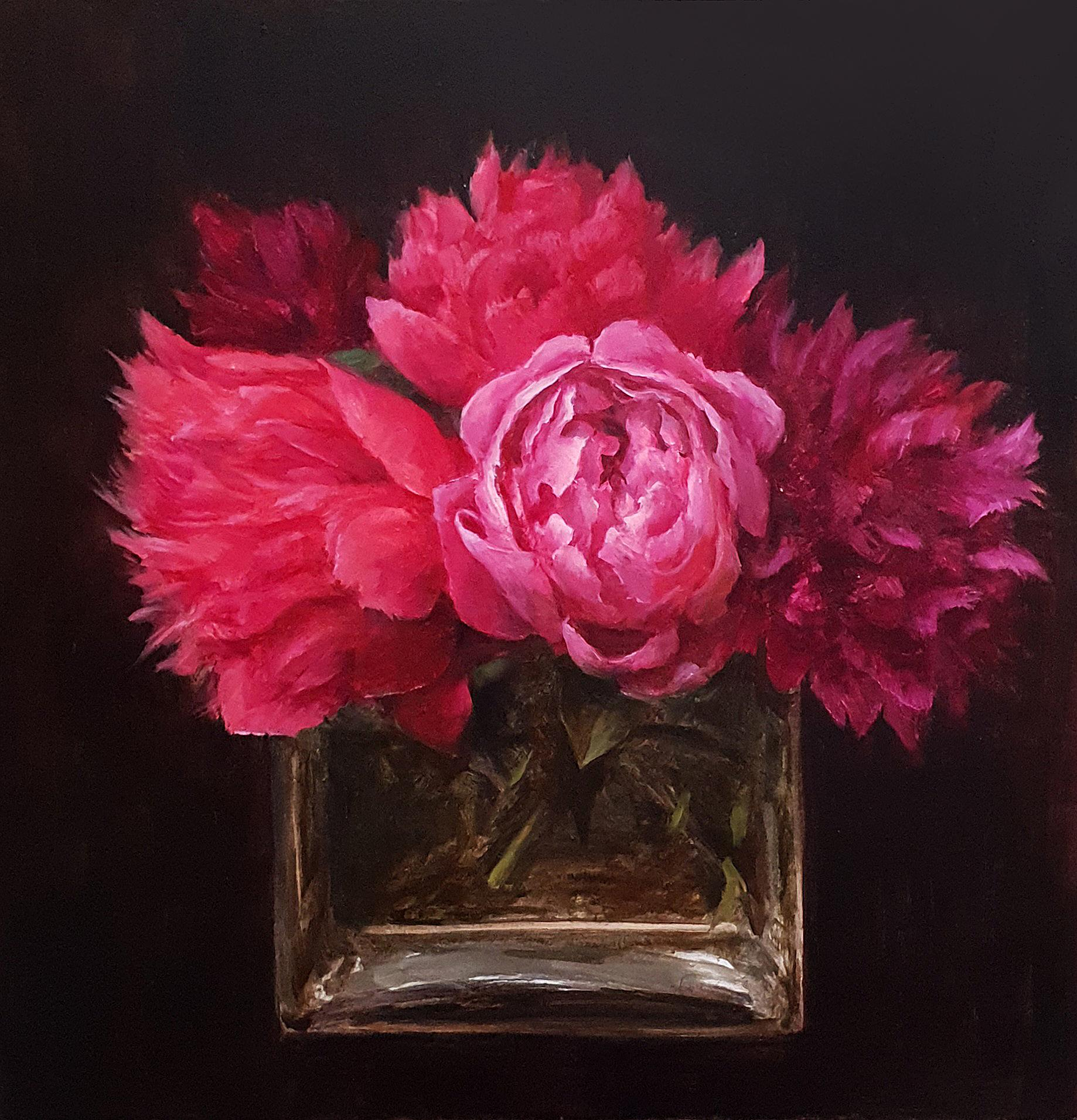 Pretty in Pink- 21st Century Still-life painting, Pink Peonies in a Square Vase