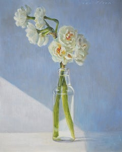 Sunseekers- 21st Century Contemporary Still-life Painting with Bottle & Flowers