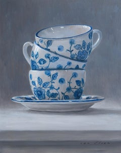 Three Times Tea - 21st Century Contemporary Still-life Painting of Tea Cups